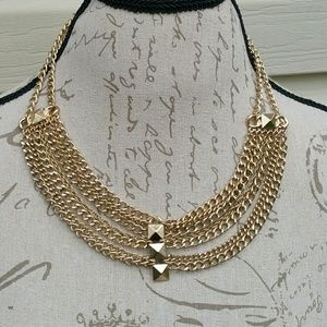 NWT faux gold multiple layered necklace